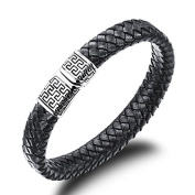 """VALENTINO"" Collection by Vittore - Black Leather Bracelet With Stainless Steel Details And Clasp - Bracelet Designs for Men"