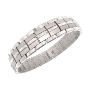 ProExl Mens Magnetic Titanium Bracelet Silver for Arthritis and Carpel Tunnel, Size Adjuster, Gift Box