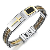 """CARDINAL"" Collection by Vittore - Men's Stainless Steel Cross Bracelet Bangle with Leather Patch"