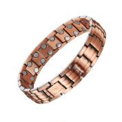 Bracelet,Mens Copper Bracelet,Mens Fashion Healthy Unisex Magnetic Pure Copper Double Row Therapy Bracelet Pain Relief for Arthritis