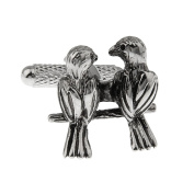 Lovebirds 2 Birds Black Cufflinks Cuff Links