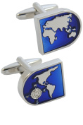 COLLAR AND CUFFS LONDON - Classic HIGH QUALITY World Map Executive Cufflinks - Brass - Blue and Silver Coloured Earth Face - Silver Coloured Exterior - Presentation Gift Box Included