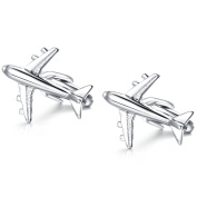 Honey Bear Cufflinks For Mens - Shirts Aeroplane Plane Commercial Plan With Gift Box, Silver