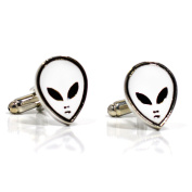 White Alien Mask Cufflinks - Star Wars Inspired Accessories For Men in Gift Box