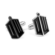 Velvet Box - Black Enamel Tardis Cufflinks - Doctor Who Marvel Design - Shirt Accessories for Men
