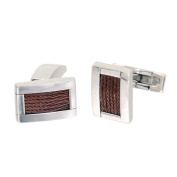 Phebus 85/0013-F-Boutons Cufflinks Men's Polished/Brushed Stainless Steel with 6 Rows of Wire Pattern Coffee-Coloured
