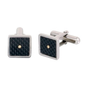 Phebus 88/0002 Men's Stainless Steel Square Cufflinks with Single Gold Screw Black