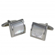 Cufflinks / Cuff buttons LINDENMANN, silvery, nacre, with gift box, 2308
