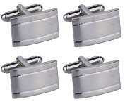 Two Sets of Classic Stainless Steel Cufflinks