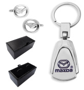 FtechⒼⒷ Luxury Mazda Car Logo Gift Set For Men Mazda Cufflinks Mazda Keychain Leather Imitation Gift Box Father's Day Gift 90-3