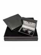 Mens Dice Cufflinks with Leather Wallet Gift Set