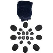 20pc Unpolished Basalt Large Ovular Massage Spa Hot Stone Rock Bag Set
