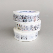 Cute Animal Pack of 3 Bundle / Japanese Washi Tape / Masking Tape / Decoration Tape / Lunarbay Washi Tape / www.lunarbaystore.com