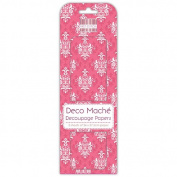 Pink Damask Deco Mache x 3 Paper Sheets Tissue Patch Craft Trimcraft