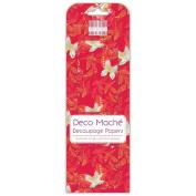 Red Butterflies Deco Mache x 3 Paper Sheets Tissue Patch Craft Trimcraft