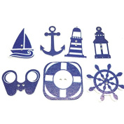 50 Pcs 2 Holes Scrapbooking Wooden Sea Wheels Anchors Button Mixed Wood Decorative DIY Gift