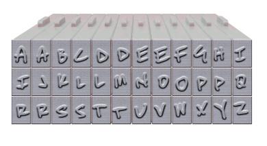 Brutus Monroe Pegz (36-Piece) Free Hand Font Set Stamp