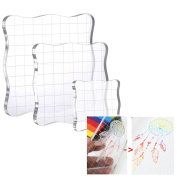 Acrylic Stamping Blocks Set, 3 Pcs Thicken Transparent Clear Acrylic Block Pad with Grid and Grip 1.5cm Thickness