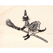 Cat Witch on Broomstick Rubber Stamp Halloween