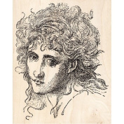 Woman with Wispy Hair Small Rubber Stamp