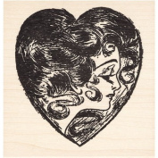 Heart Face Valentine Rubber Stamp