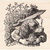 Girl with Dog Rubber Stamp