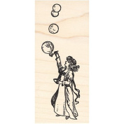Girl Blowing Bubbles Rubber Stamp