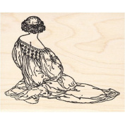 Renaissance Woman Sitting Rubber Stamp