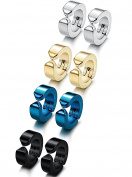Sailimue 1-4 Pairs Stainless Steel Clip on Earrings for Men Women Hoop Huggie Earrings