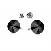 Rivoli Crystals & Stones 925 Sterling Silver Drop Earrings * * COLOUR Jet Men's Hoop Earrings with Elements Crystal – Lovely Earrings with Gift Box GWT/8 Pin/75