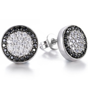 J.SHINE Men Earrings Fashion 925 Sterling Silver Stud Earrings with White/Black Micro Pave Cubic Zirconia, Diameter 10mm