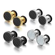 Cupimatch Cool 10mm Mens Stainless Steel Stud Earrings Women Piercing Ear Plug Tunnel Set of 4 Pairs