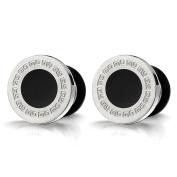 Mens Circle Stud Earrings Steel with Greek Key Pattern and Black Enamel