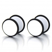 2pcs White Screw Stud Earrings Men Women, Steel Cheater Fake Ear Plugs Gauges Illusion Tunnel