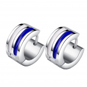 HIJONES Men's Stainless Steel Striped Huggie Hinged Hoop Stud Earrings 2pcs