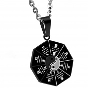 Cupimatch Men's Stainless Steel Retro Round Amulet Pendant Tai Chi Eight Diagrams Yin Yang Necklace with 60cm Chain