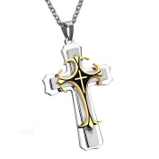 Cupimatch Men's Women's Religious Stainless Steel Large Triple Cross Pendant Necklace with 60cm Chain, Silver Gold