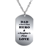 BESPMOSP Dad A Son's First Hero A Daughter's First Love Pendant Necklace Gift For Father