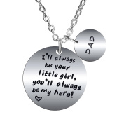 BESPMOSP I'll Always Be Your Little Girl, You'll Always Be My Hero Pendant Necklace For Dad