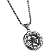 Stainless Steel Wheel Necklace by Vittore - Men's Punk Jewellery With Steering Wheel Pendant - Stainless Steel Chain Necklace