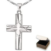 Clever Jewellery Set Silver Cross Pendant 32 mm – Curved Width Beams Matte, Diamond-Plated Criss-Cross, Centre End Carded with Chain 50 cm Rhodium-Plated 925 Sterling Silver in Case