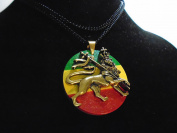 """LION OF JUDAH 36"""" necklace 39 mm brass mould on glazed disc Rare Rastafarian ZION LION 39 mm high , brass pendant on glazed rasta disc , new with tag Hi quality , made in USA , 10 year guarantee"""