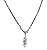 Icon Brand Men's Plume Matte Black Two Row Feather Pendant Necklace of Length 75cm