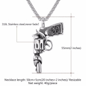 Hip Hop Man Big Gun Pistol Weapon Necklace Stainless Steel