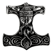 Large Thor's Hammer Pendant 925 Sterling Silver No. 292