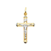 18 Carat 750 Gold Large Yellow and White Gold Two-Tone Cross Pendant With Jesus Unisex