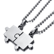 RareLove His & Hers Couples Pendant Necklace 2pcs Stainless Steel Black Puzzle Matching