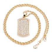 "Men's Gold Dog Tag Micro Pendant Iced Out Iron Rope Chain 3mm 24"" Hip Hop Bling Necklace"