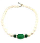 Natural Pearl Emerald Green Jade Pendant Necklace Morther Jewellery
