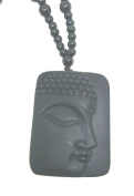 Natural Black Obsidian Avalokitesvara Side Buddha Pendant Beads Necklace